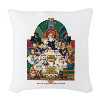 szyk_haggadah_passover_woven_throw_pillow