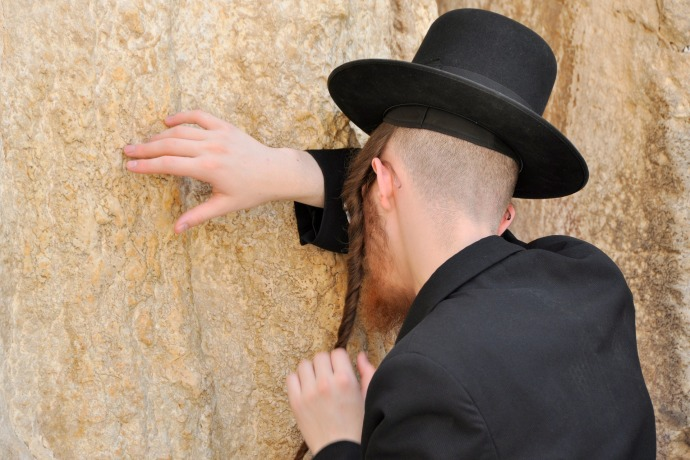 Hassid praying at the Western Wall, Jerusalem, Israel